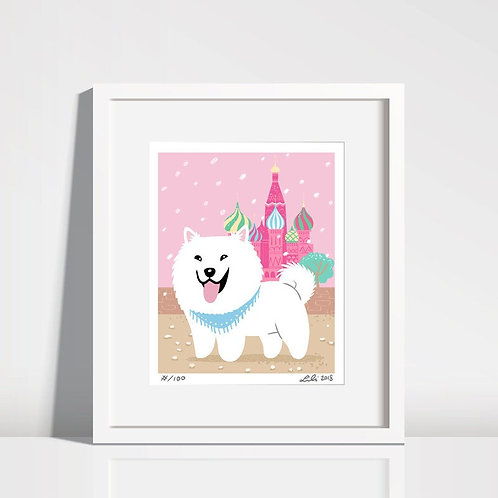 Samoyed Puppy, St Basil's Cathedral - 8x10 art print