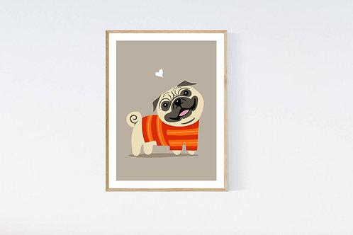 Pug in a sweater - 5x7 print