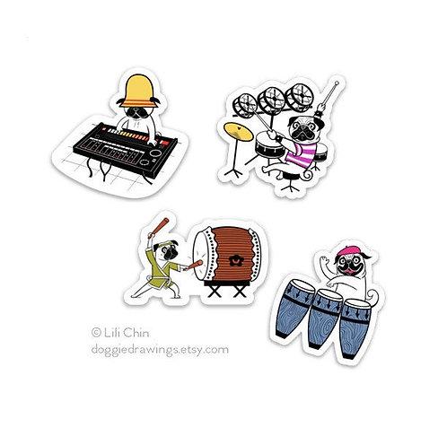 PUGCUSSION pugs & drums sticker set