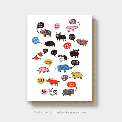 Oinking Pigs greeting card