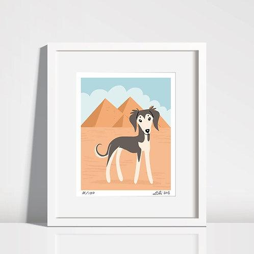 Saluki Puppy, Pyramids of Giza - 8x10 art print