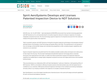 CISION: Spirit AeroSystems Develops and Licenses Patented Inspection Device to NDT Solutions