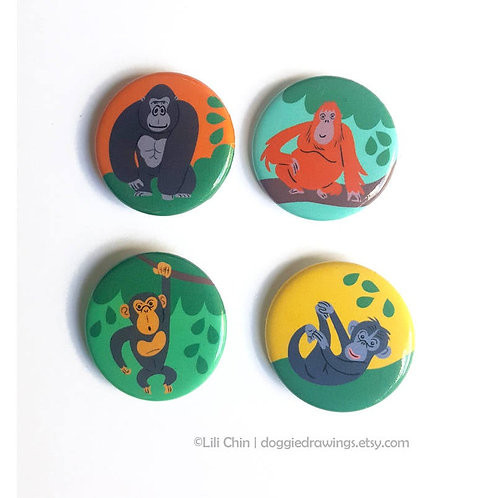 APES - Set of 4 buttons