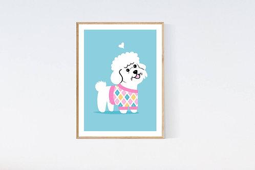 Bichon Poodle in a sweater - 5x7 print