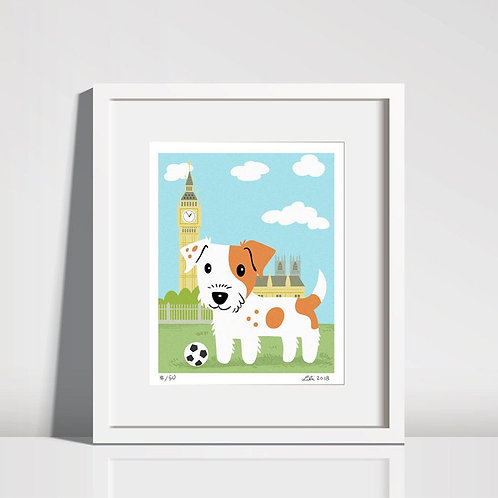 Jack Russell Terrier Pup with Big Ben - 8x10 art print