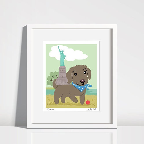 Chesapeake Bay Retriever Puppy, Statue of Liberty - 8x10 art print