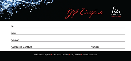 Auto Detailing Gift Certificate