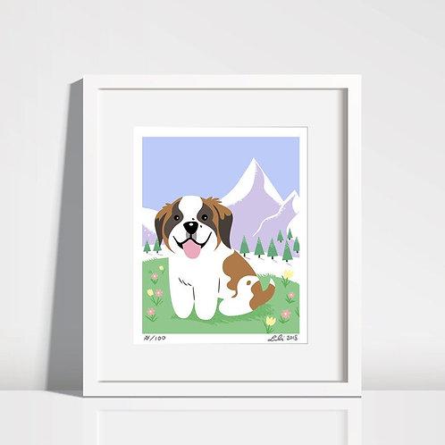 Saint Bernard Puppy, Matterhorn - 8x10 art print