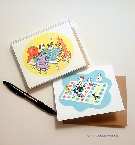 Dogs Playing Games - 5 designs- blank greeting cards & envelopes