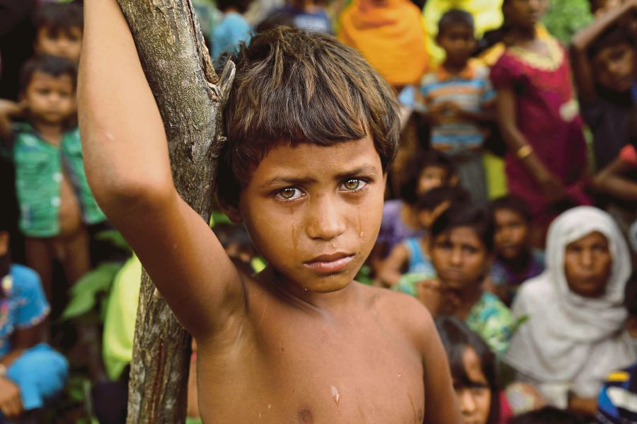 A Rohingya child at a refugee camp in Cox's Bazar, Bangladesh. The Rohingya make up some 10 per cent of the world's stateless people