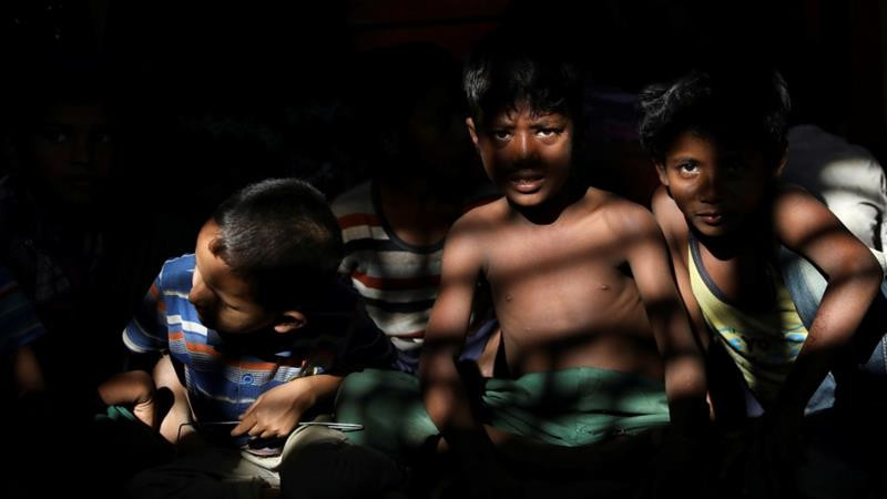 Rohingya refugee children gather in children's playground at the Kutupalong refugee camp near Cox''s Bazar, Bangladesh