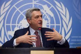 Pesuruhjaya Tinggi PBB untuk Pelarian, Filippo Grandi pada sidang media mengenai perancangan PBB untuk krisis kemanusiaan Rohingya, di ibu pejabat PBB di Geneva, Switzerland