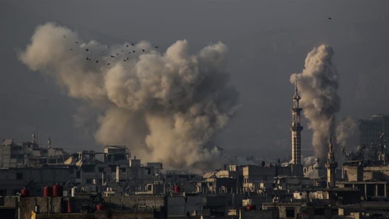The aftermath of an air attack on Eastern Ghouta on Wednesday
