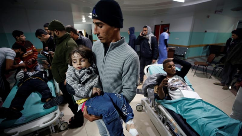 At least six children were wounded in Israeli air raids targeting Gaza