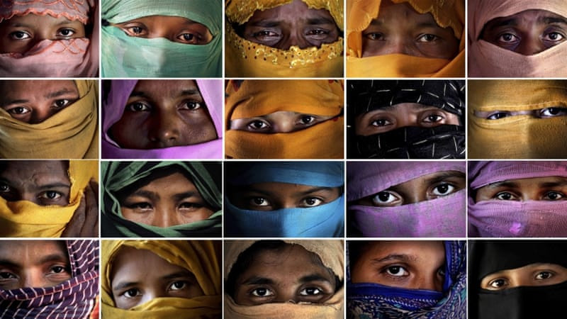 This combo photo comprises of portraits of some of the Rohingya Muslim women taken during an interview with The Associated Press in Kutupalong and Gundum refugee camp in Bangladesh
