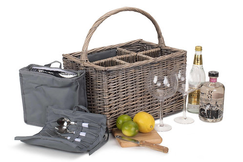 Gin Picnic Basket with Glasses, Chiller & Accessories