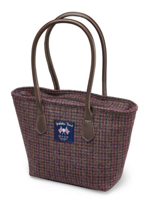 Moon & Co Yorkshire tweed tote bag - Burgundy dogtooth