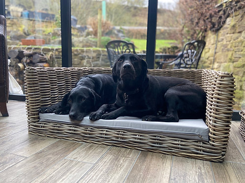 Luxury Rattan Dog Sofa Bed - Large with light grey cushion