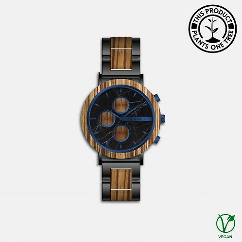 Botanica Watches | Dahlia | Zebrano and Marble Face with Black