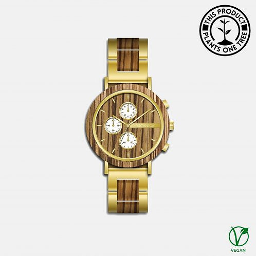 Botanica Watches | Hazel | Zebrano and Sandalwood Face with Gold Steel and Zebra