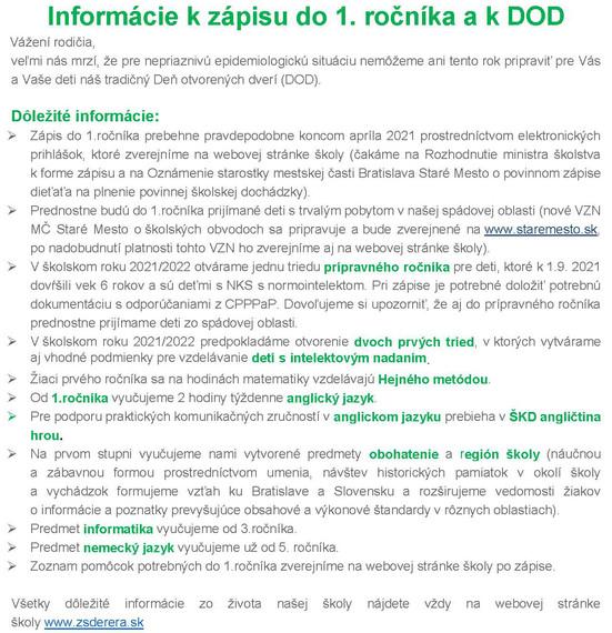 Informácie kzápisu do 1. ročníka akDOD