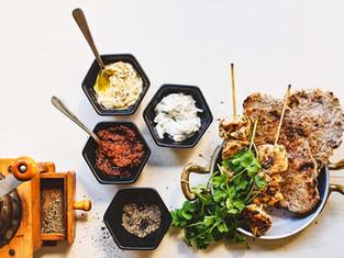 Chicken skewers, dip, flatbread