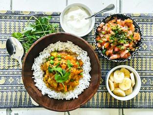 Lentil, pea & sweet potato curry