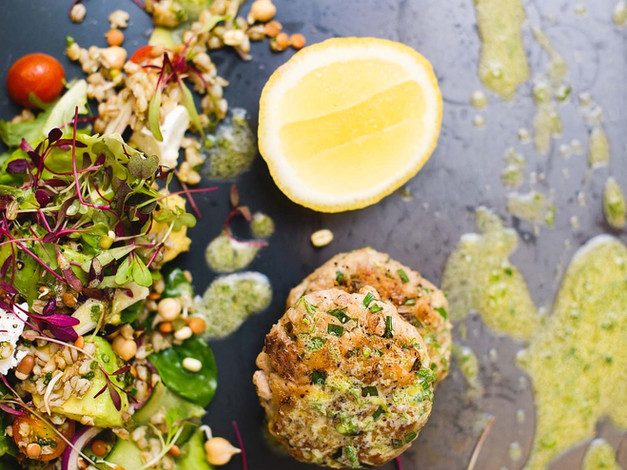 Fishcakes with barley salad & lemon drizzle