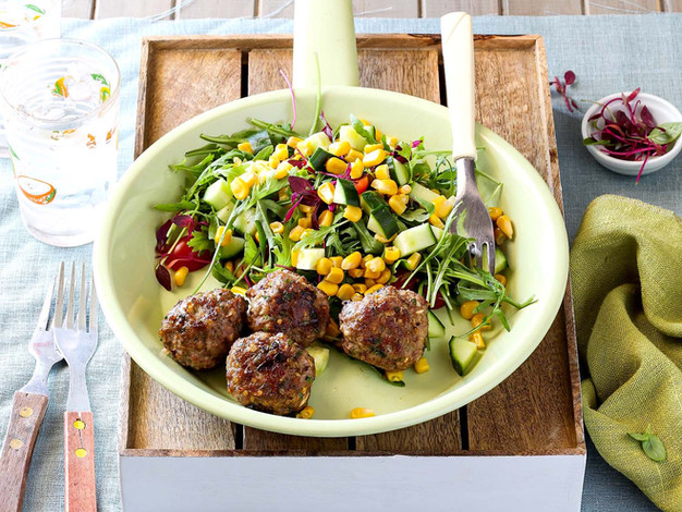 Thai Meatballs with Green Salad and Corn