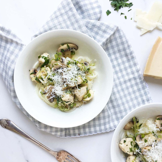Turnip tagliatelle with chicken and herb sauce