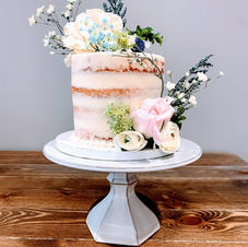 Naked Iced Cake With Blush & Blue Touches