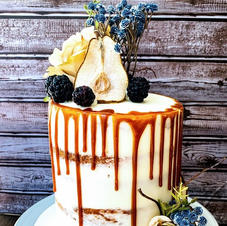 Tall Wedding Cake with dried pears and caramel drip