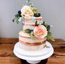 2 Tiered Naked Iced Wedding Cake