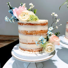 Rustic Naked Iced Cake With Silk Flowers