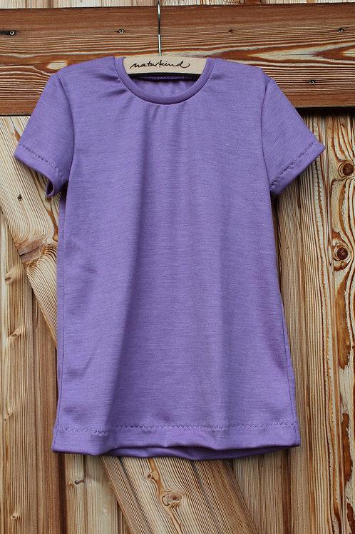 Wolle Seide T- Shirt Lavendel bio, mulesingfrei