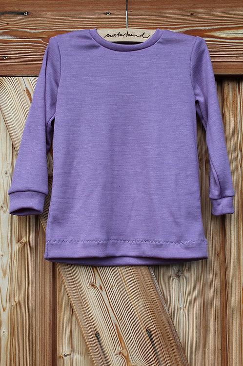 Langarmshirt aus Wolle Seide Lavendel kbT, mulesingfrei