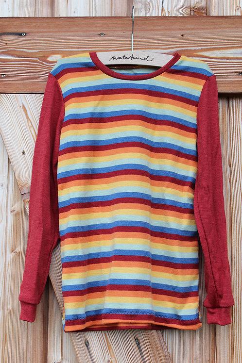 Langarmshirt aus Wolle Seide Regenbogen kbT, mulesingfrei