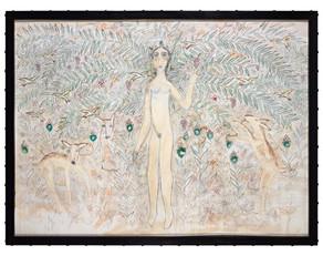 Woman in Garden with Three Deer