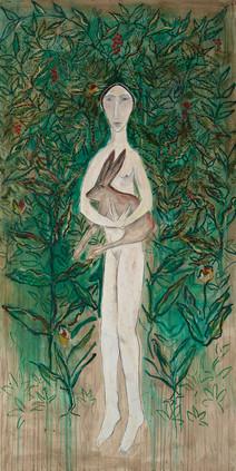 Woman with Rabbit in Garden
