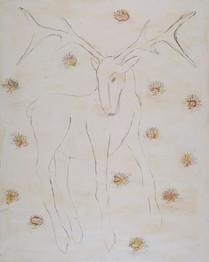 Deer with Lotus Flowers