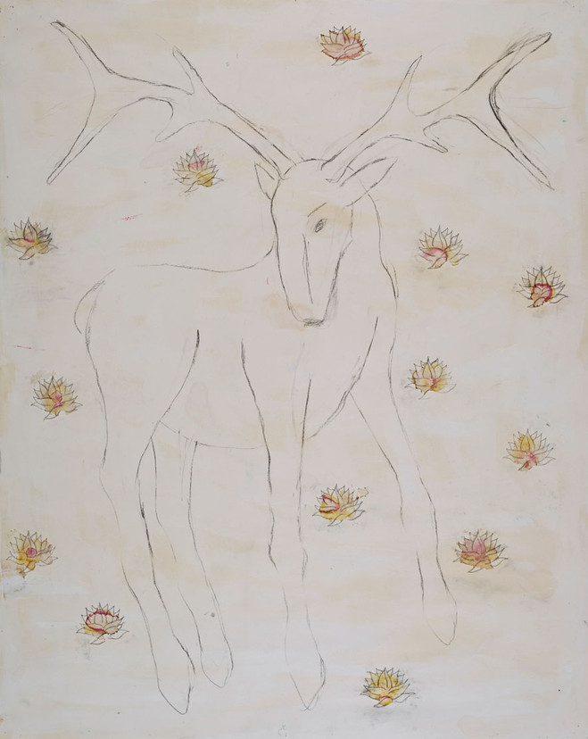 Deer with Lotus Flowers