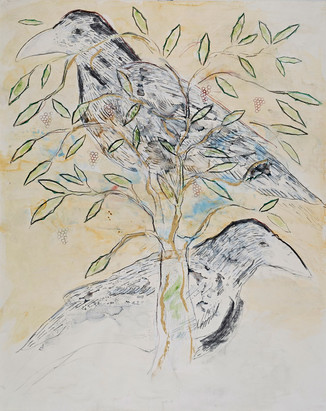 Two Ravens and Tree
