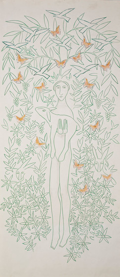 Woman with Deer and Butterflies