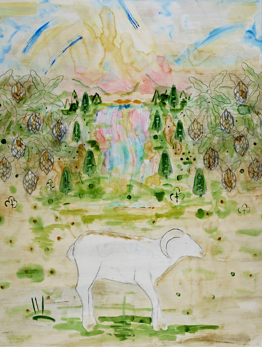 Landscape with White Ram
