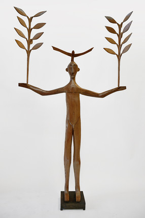 Man with Leafy Branches and Bird