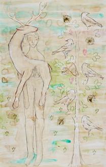 Man, Deer, Tree and Five Ravens
