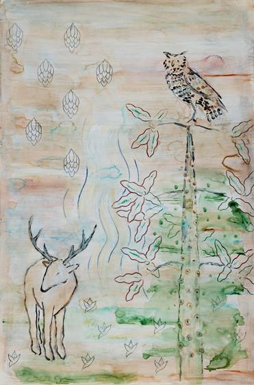 Deer, Tree and Owl