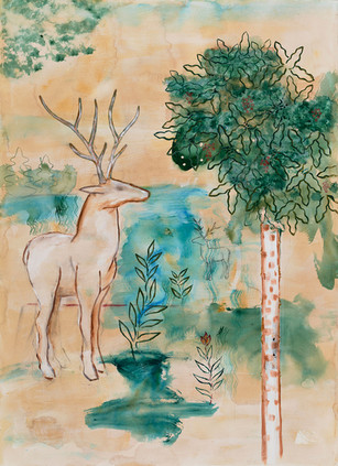 Two Deer and Tree