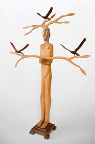 Woman with Two Branches and Three Birds