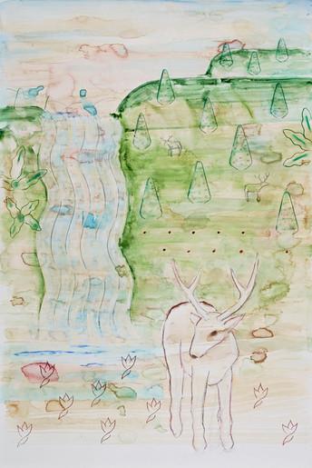 Waterfall and Deer